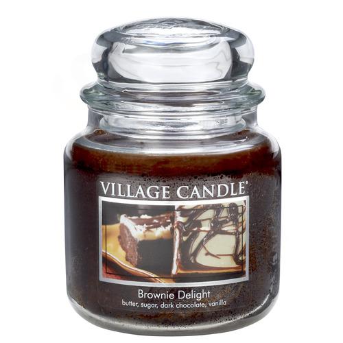 Village Candle Brownie Delight 397g - střední vonná svíčka ve skle Čokoládový dortík