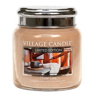 Village Candle Střední vonná svíčka ve skle Chalet Latte 397g - Latté v horské boudě