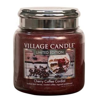 Village Candle Střední vonná svíčka ve skle Cherry Coffee Cordial 397g - Třešňovo kávový likér