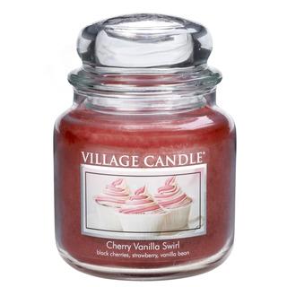 Village Candle Střední vonná svíčka ve skle Cherry Vanilla Swirl 397g - Višeň a vanilka