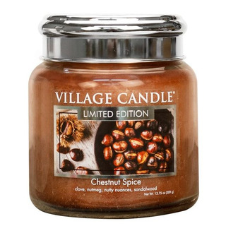 Village Candle Střední vonná svíčka ve skle Chestnut Spice 397g - Pečené kaštany