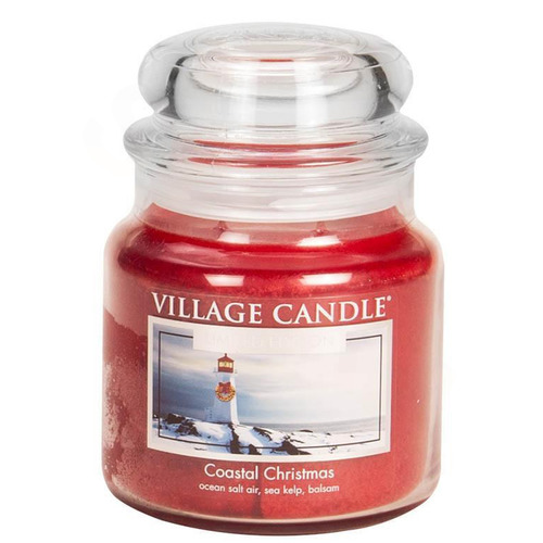 Village Candle Coastal Christmas 397g - střední vonná svíčka ve skle Vánoce v přístavu