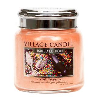 Village Candle Střední vonná svíčka ve skle Confetti Prosecco 397g - Konfety a Prosecco