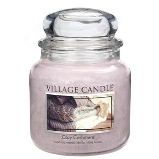 Village Candle Střední vonná svíčka ve skle Cozy Cashmere 397g - Kašmírové pohlazení