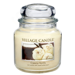 Village Candle Střední vonná svíčka ve skle Creamy Vanilla 397g - Vanilková zmrzlina