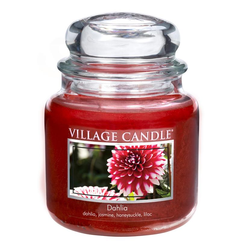 Village Candle Střední vonná svíčka ve skle Dahlia 397g - Jiřina