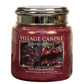 Village Candle Střední vonná svíčka ve skle Dark Chocolate Rose 397g - Čokoládová růže