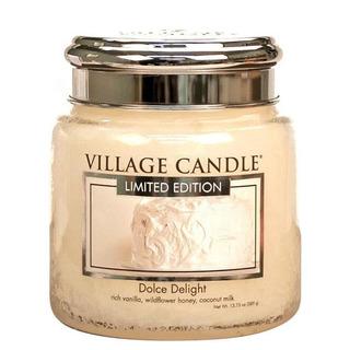 Village Candle Střední vonná svíčka ve skle Dolce Delight 397g - Sametové potěšení