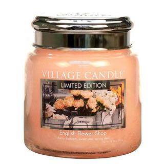 Village Candle Střední vonná svíčka ve skle English Flower Shop 397g - Anglické květiny