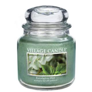 Village Candle Střední vonná svíčka ve skle Eucalyptus Mint 397g - Eukalyptus a máta