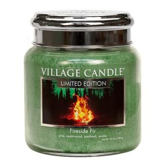 Village Candle Střední vonná svíčka ve skle Fireside Fir 397g - Táborák z jedlí