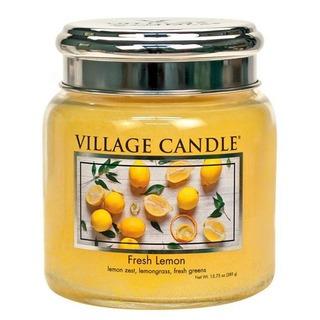 Village Candle Střední vonná svíčka ve skle Fresh Lemon 397g