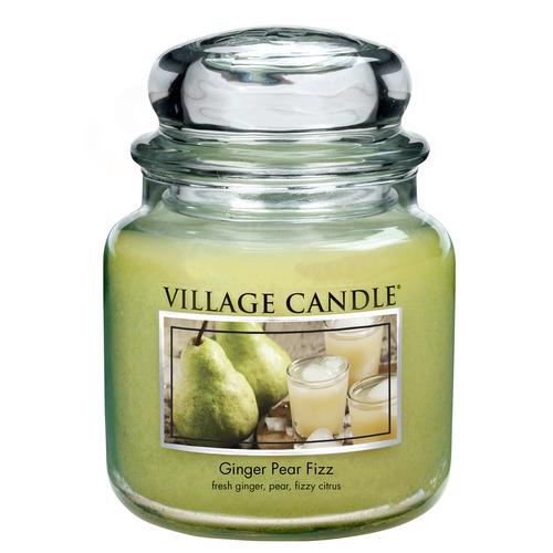 Village Candle Ginger Pear Fizz 397g - střední vonná svíčka ve skle Hruškový fizz se zázvorem