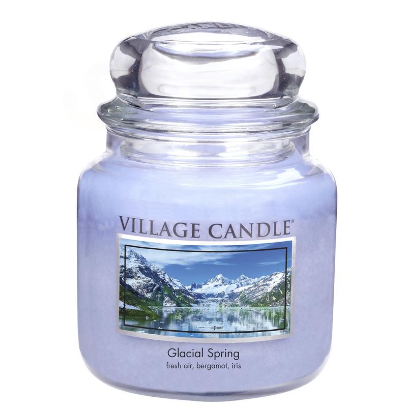 Village Candle Střední vonná svíčka ve skle Ledovcový vánek 397g - Glacial Spring