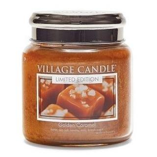 Village Candle Střední vonná svíčka ve skle Golden Caramel 397g - Zlatý karamel
