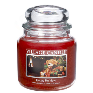 Village Candle Střední vonná svíčka ve skle Happy Holidays 397g - Šťastné Vánoce