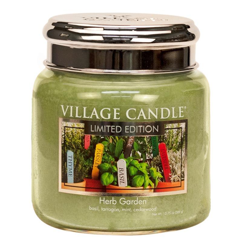 Village Candle Střední vonná svíčka ve skle Herb Garden 397g