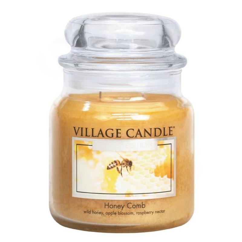 Village Candle Střední vonná svíčka ve skle Honey Comb 397g - Medový sen