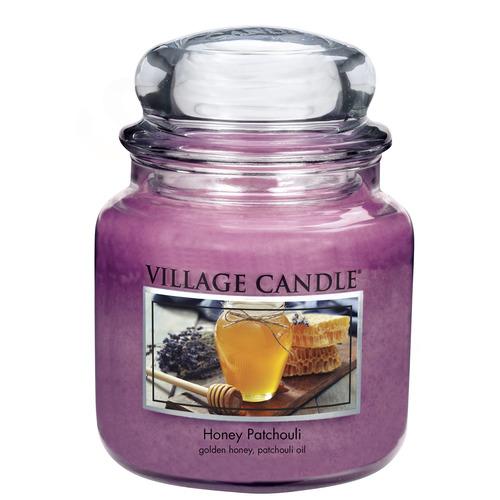 Village Candle Honey Patchouli 397g - střední vonná svíčka ve skle Med a pačuli