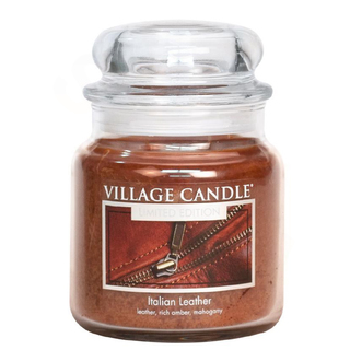 Village Candle Střední vonná svíčka ve skle Italian Leather 397g - Italská kůže
