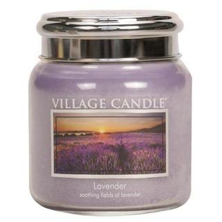 Village Candle Střední vonná svíčka ve skle Lavender 397g - Levandule