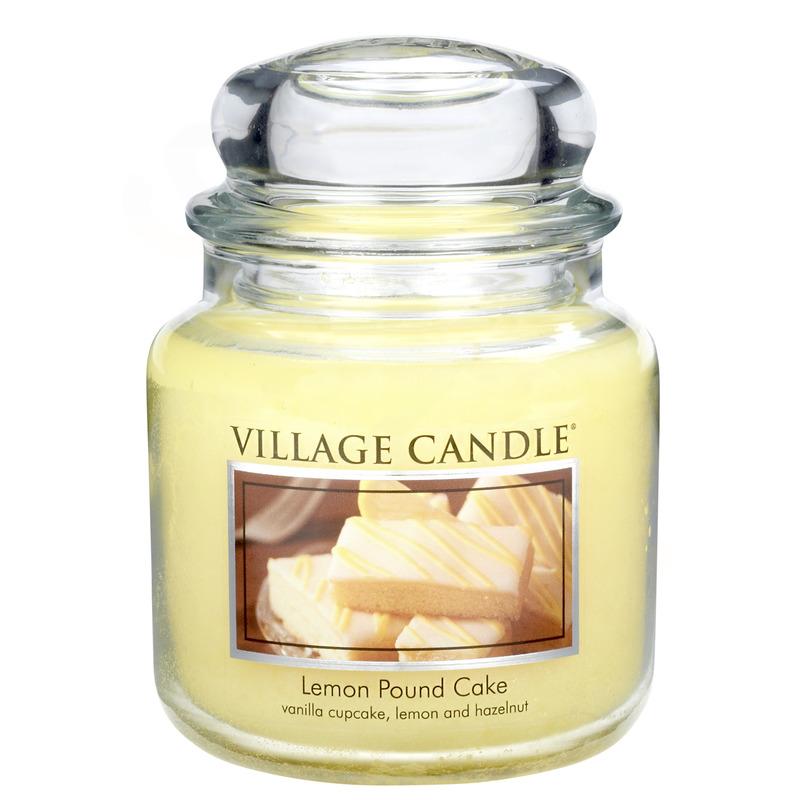 Village Candle Střední vonná svíčka ve skle Lemon Pound Cake 397g - Citronový koláč