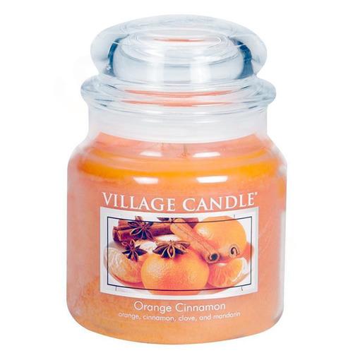 Village Candle Orange Cinnamon 397g - střední vonná svíčka ve skle Pomeranč a skořice