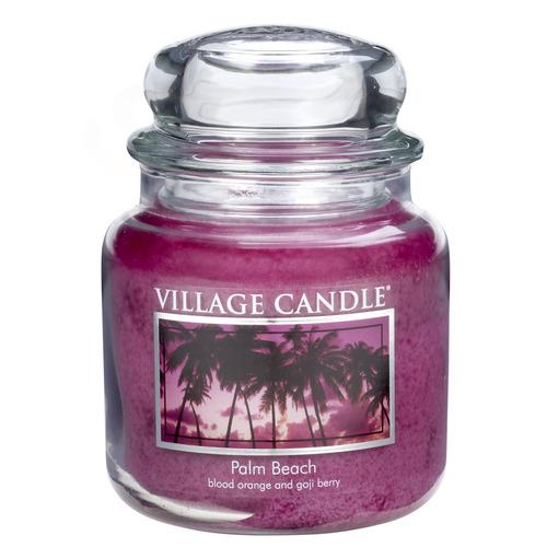 Village Candle Palm Beach 397g - střední vonná svíčka ve skle Palmová pláž