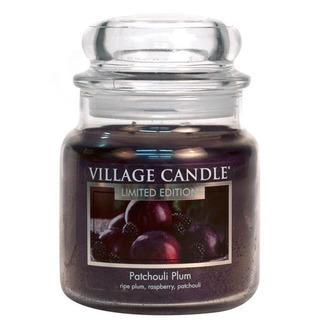 Village Candle Střední vonná svíčka ve skle Patchouli Plum 397g - Švestka a pačuli