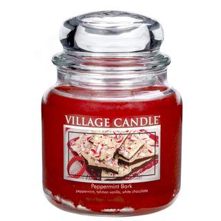 Village Candle Střední vonná svíčka ve skle Peppermint Bark 397g - Mátové potěšení
