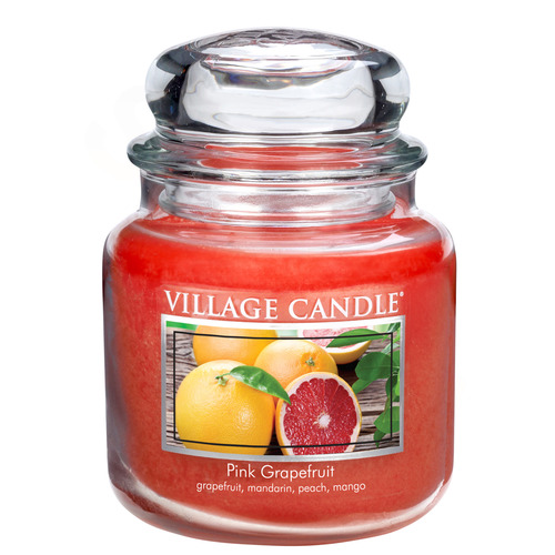 Village Candle Pink Grapefruit 397g - střední vonná svíčka ve skle Růžový grapefruit