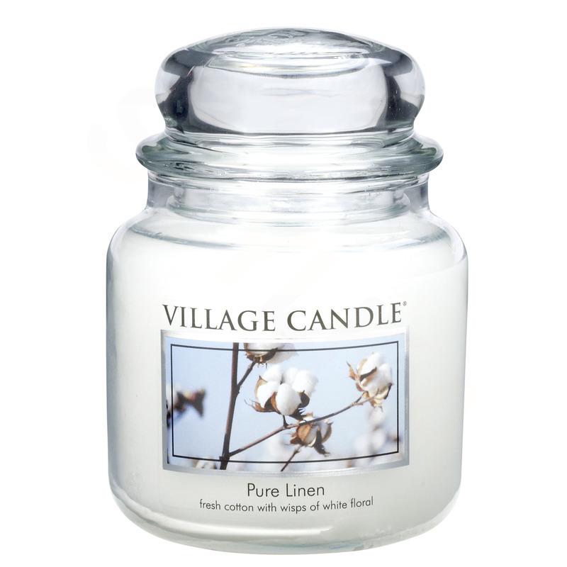 Village Candle Střední vonná svíčka ve skle Pure Linen 397g - Čisté prádlo