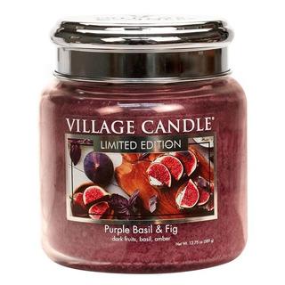 Village Candle Střední vonná svíčka ve skle Purple Basil and Fig 397g - Fialová bazalka a fík