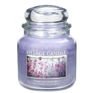 Village Candle Střední vonná svíčka ve skle Rosemary Lavender 397g - Rozmarýn a levandule