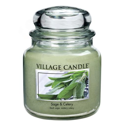 Village Candle Sage Celery 397g - střední vonná svíčka ve skle Svěží šalvěj