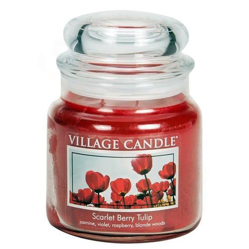 Village Candle Scarlet Berry Tulip 397g - střední vonná svíčka ve skle Tulipány