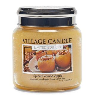 Village Candle Střední vonná svíčka ve skle Spiced Vanilla Apple 397g - Pečené vanilkové jablko