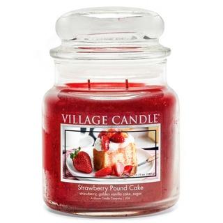 Village Candle Střední vonná svíčka ve skle Strawberry Pound Cake 397g - Jahodový koláč
