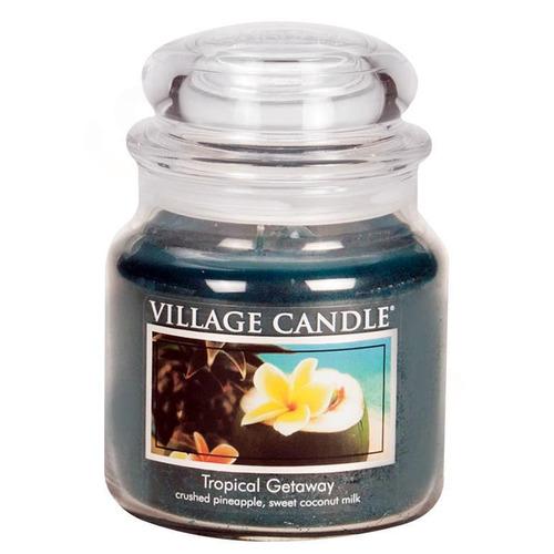 Village Candle Tropical Getaway 397g - střední vonná svíčka ve skle Víkend v tropech