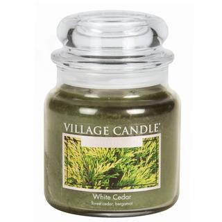 Village Candle Střední vonná svíčka ve skle White Cedar 397g - Cedrové dřevo