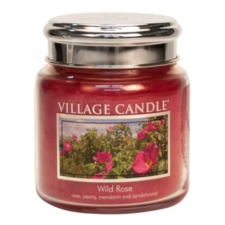 Village Candle Střední vonná svíčka ve skle Wild Rose 397g - Divoká růže