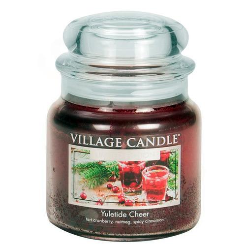 Village Candle Yuletide Cheer 397g - střední vonná svíčka ve skle Vánoční Čas