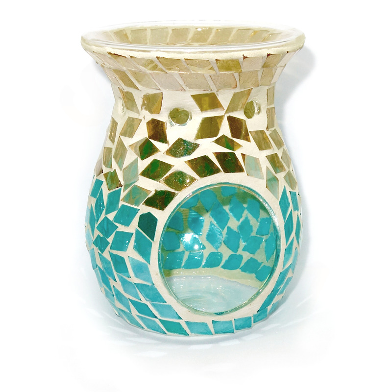 Village Candle Aromalampa Gold & Turquoise