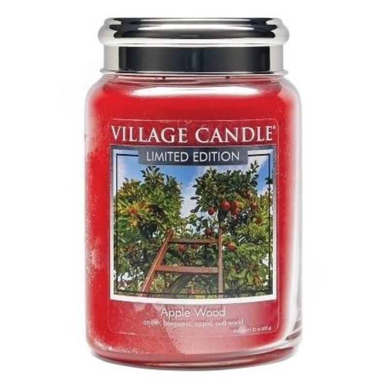 Village Candle Velká vonná svíčka ve skle Apple Wood 645g - Jabloňové dřevo