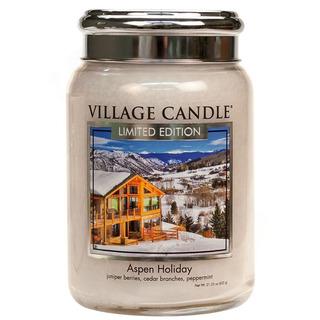 Village Candle Velká vonná svíčka ve skle Aspen Holiday 645g - Sváteční Aspen
