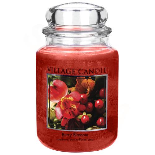 Village Candle Berry Blossom 645g - velká vonná svíčka ve skle Červené květy