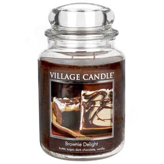Village Candle Velká vonná svíčka ve skle Brownie Delight 645g - Čokoládový dortík