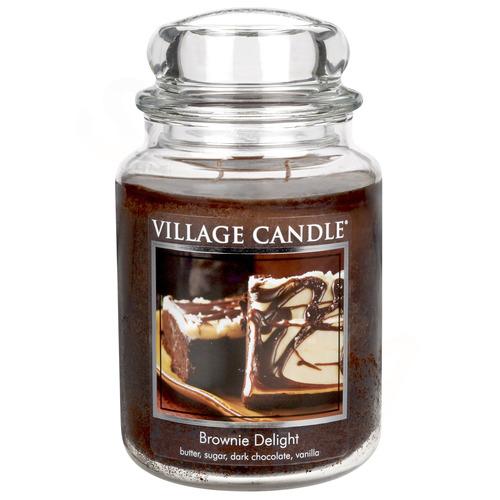 Village Candle Brownie Delight 645g - velká vonná svíčka ve skle Čokoládový dortík