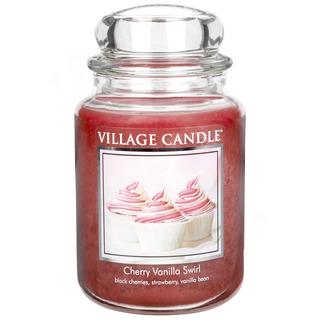 Village Candle Velká vonná svíčka ve skle Cherry Vanilla Swirl 645g - Višeň a vanilka