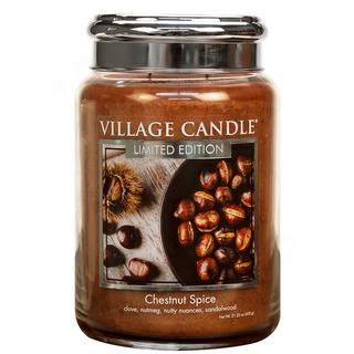Village Candle Velká vonná svíčka ve skle Chestnut Spice 645g - Pečené kaštany